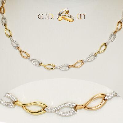 Sárga fehér és rozé arany nyaklánc az ékszer webáruházból-GoldCity-Ékszer-Webáruház