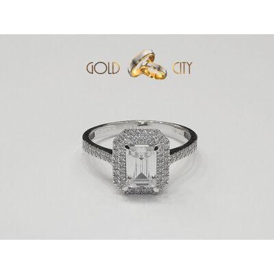 Női gyűrű 14 karátos fehér aranyból, foglalt cirkónia kővel díszítve