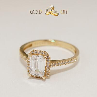 Klasszikus köves női gyűrű 14 karátos sárga  aranyból,