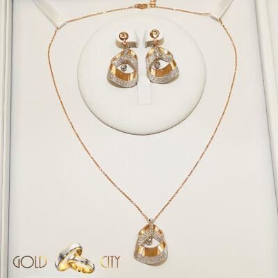 Fehér és rozé arany nyaklánc medál fülbevalóaz ékszer webáruházból-GoldCity-Ékszer-Webáruház