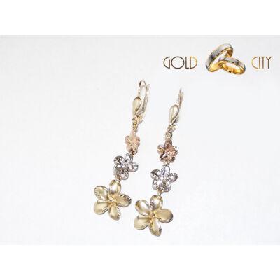 Sárga fehér és rozé arany fülbevaló az ékszer webáruházból-GoldCity-Ékszer-Webáruház