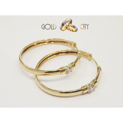 Sárga arany köves karika fülbevaló az ékszer webáruházból-goldcity.hu