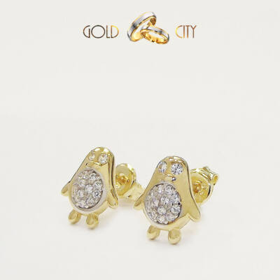 Sárga arany pingvin fülbevaló az ékszer webáruházból-GoldCity-Ékszer-Webáruház