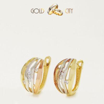 Sárga fehér rozé arany fülbevaló az ékszer webáruházból-GoldCity-Ékszer-Webáruház