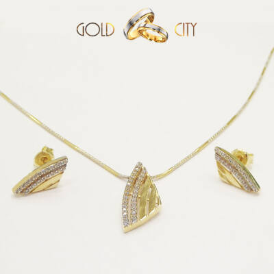 Sárga arany fülbevaló és medál az ékszer webáruházból-GoldCity-Ékszer-Webáruház
