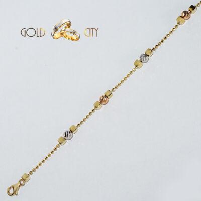 Sárga fehér rozé arany karkötő az ékszer webáruházból-GoldCity-Ékszer-Webáruház