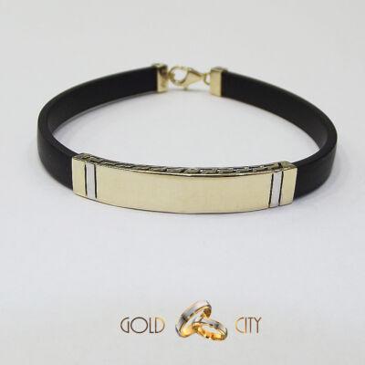 Modern  és látványos férfi arany karkötő kaucsukkal-goldcity.hu