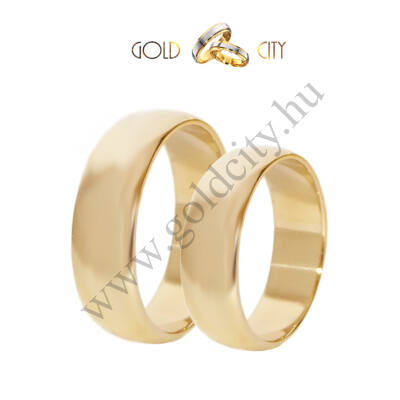 Klasszikus féldomború fényes 14 karátos sárga aranyból készült karikagyűrű