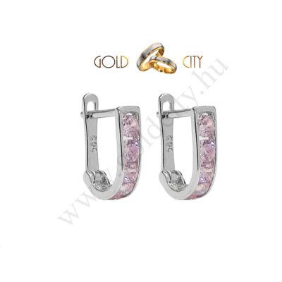 Rózsaszínű köves bébi fülbevaló az ékszer webáruházból-goldcity.hu