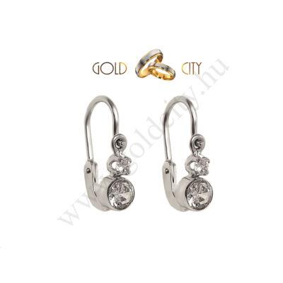 Fehér arany bébi fülbevaló ragyogó fehér  kövekkel díszítve-goldcity.hu