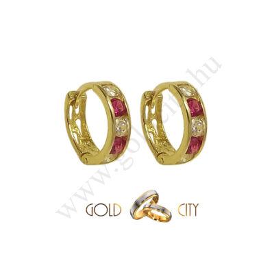 Fehér és piros köves gyermek karika fülbevaló-Goldcity Ékszer Webáruház