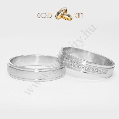 Köves fehér arany karikagyűrű, jegygyűrű az ékszer webáruházból.