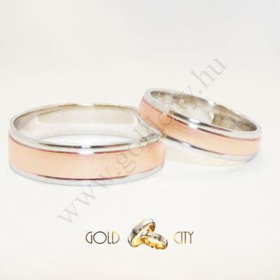 Modern, szélein fényes fehér arany, közepén matt rozé arany karikagyűrű.