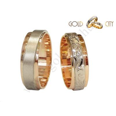 Karikagyűrű, jegygyűrű vésett mintával a GoldCity Ékszer Webáruházból