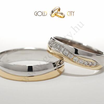 Karikagyűrű 14 karátos sárga és fehér aranyból hullám mintával