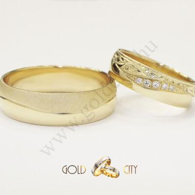 Kézzel vésett barok mintás karikagyűrű sárga aranyból-goldcity.hu