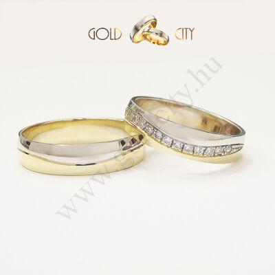 Karikagyűrű 14 karátos aranyból hullám mintával az Ékszer Webáruházból