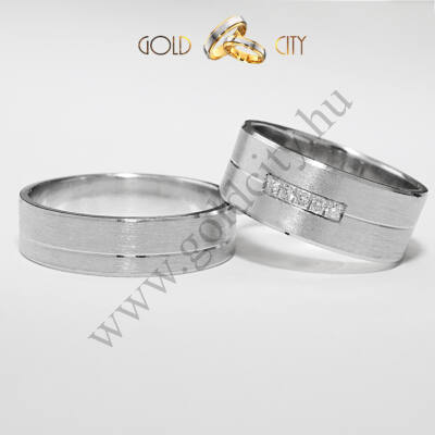 Matt, 14 karátos fehér aranyból készült karikagyűrű-goldcity.hu