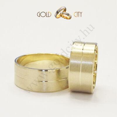 Modern 14 karátos sárga aranyból készült karikagyűrű-goldcity.hu