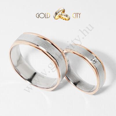 Modern szögletes formájú rozé és fehér 14 karátos aranyból-goldcity.hu