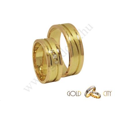 Fényes rozé és matt sárga arany karikagyűrű, a Gold City Ékszer Webáruház kínálatából.