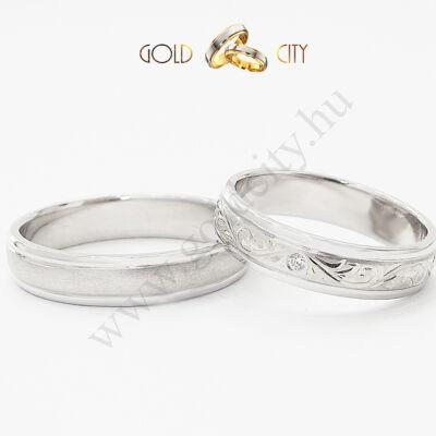 Klasszikus kézi véséssel díszített barok mintás karikagyűrű-goldcity.hu
