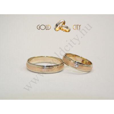 Rozé és fehér arany karikagyűrű, a Gold City Ékszer Webáruház kínálatából.