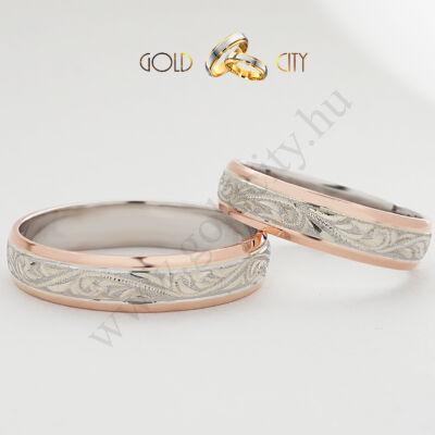 Klasszikus karikagyűrű, kézzel készített barok véséssel díszítve.