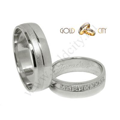Matt és fényes, fehér arany karikagyűrű, a női változatban  kövekkel.
