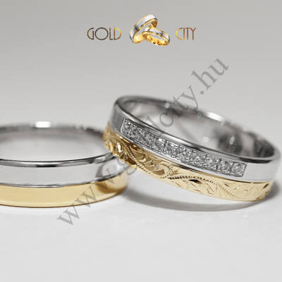 Szolidan elegáns kétszínű 14 karátos arany karikagyűrű  kézi véséssel