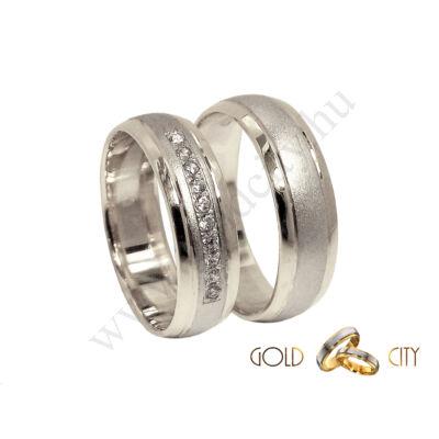 Modern karikagyűrű,  fehér aranyból, a női gyűrűt kövekkel-goldcity.hu