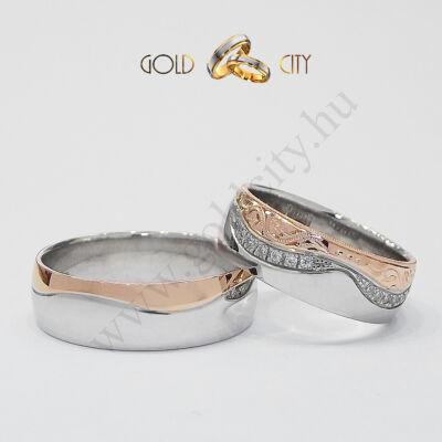 Kétszínű kézi véséssel díszített arany karikagyűrű, a Gold City Ékszer Webáruház kínálatából.