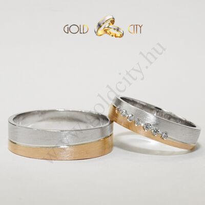 Modern karikagyűrű, 14 karátos matt fehér és rozé aranyból-goldcity.hu