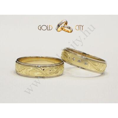 Kézzel vésett barokk mintás karikagyűrű.