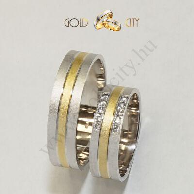 Karikagyűrű 14 karátos  sárga és fehér aranyból- goldcity.hu