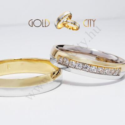 Modern 14 karátos karikagyűrű, csillogóan fényes fehér és sárga arany