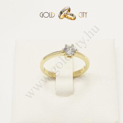 Sárga arany köves gyűrű, jegygyűrű az ékszer webáruházból-goldcity.hu