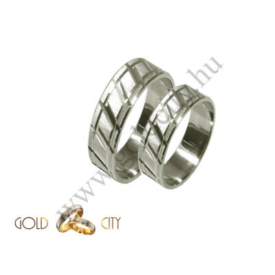 Fehér arany 14 karátos karikagyűrű, vésett mintával.
