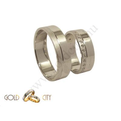 Fehér arany karikagyűrű  kövekkel  a Gold City Ékszer Webáruházból
