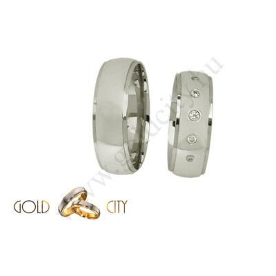 Fényes 14 karátos fehér arany karikagyűrű