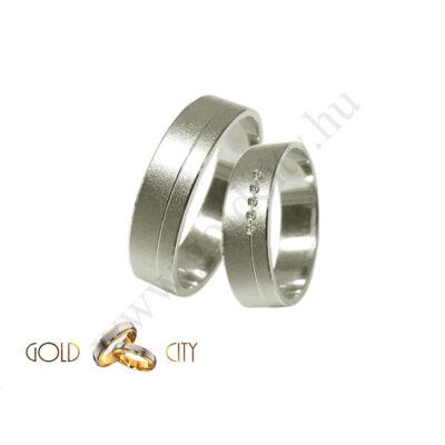 Köves karikagyűrű matt fehér aranyból, a női gyűrű kövekkel díszítve