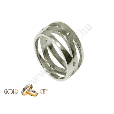 Különleges áttört mintájú fehér arany karikagyűrű
