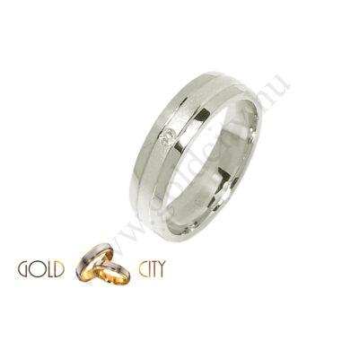 Modern 14 karátos fehér aranyból készült köves karikagyűrű-goldcity.hu