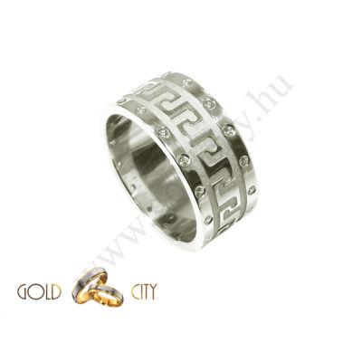 Görög mintájú karikagyűrű, fehér aranyból. a női változat kövekkel.