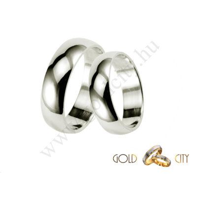 Fényes, 14 karátos fehér aranyból készült klasszikus sima karikagyűrű