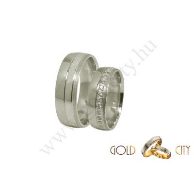 Modern, 14 karátos fehér arany karikagyűrű, a női változat csillogó kövekkel díszítve.