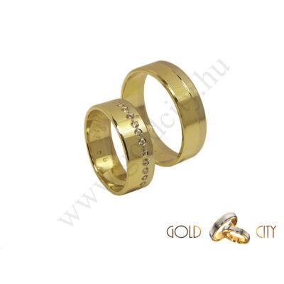 Kétszínű arany karikagyűrű, a Gold City Ékszer Webáruház kínálatából.