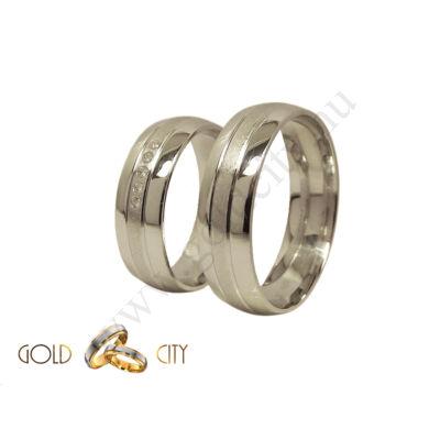 Klasszikus féldomború fehér arany karikagyűrű, a női gyűrű kövekkel
