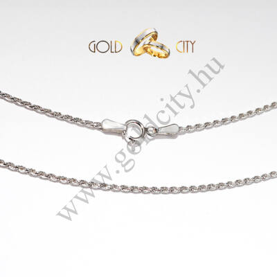 Fényes, 14 karátos fehér aranyból készült, klasszikus fonású tömör nyaklánc
